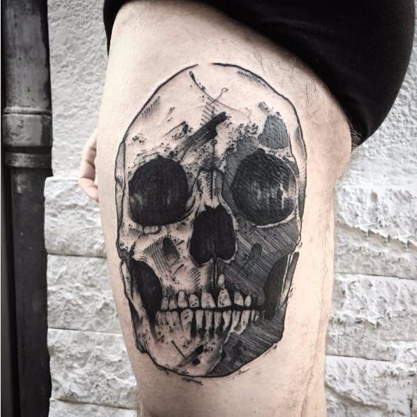 创意纹身图案-黑灰素描点刺技巧描绘的创意设计感十足的纹身图案