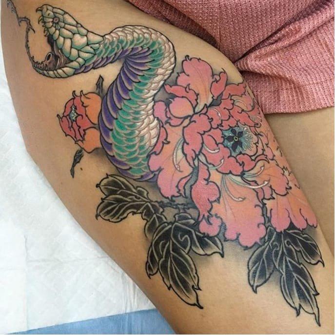 日本图腾纹身图案-彩绘水彩素描描绘的创意日本传统图腾纹身图案