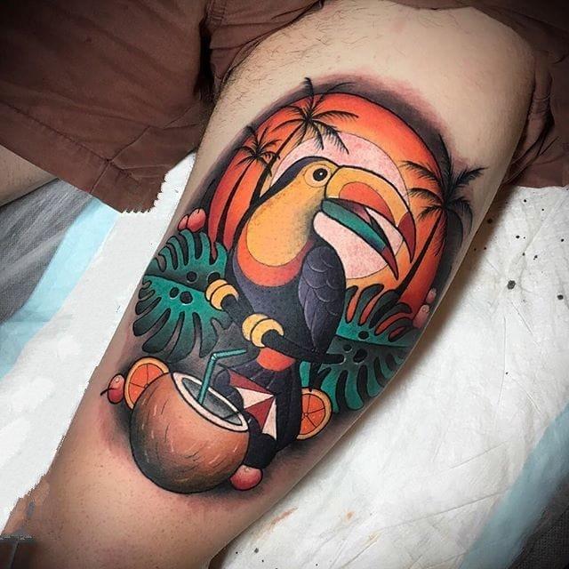 彩绘纹身图案-彩绘水彩的创意文艺霸气大嘴鸟纹身图案