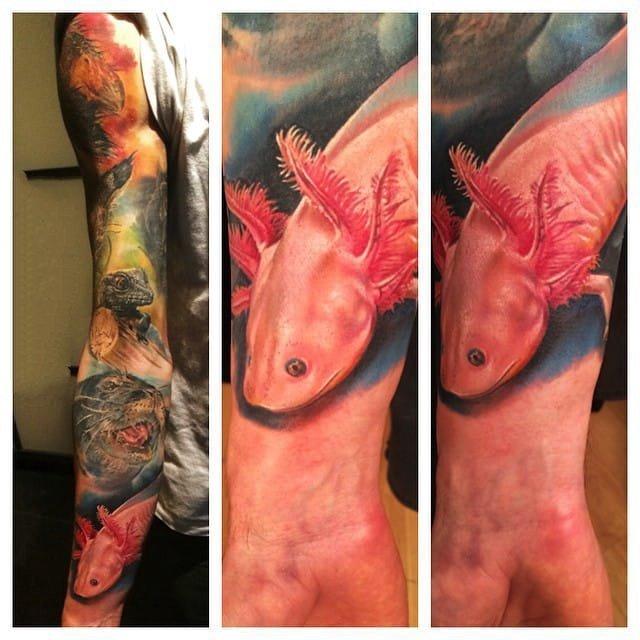 动物纹身图案-彩绘水彩素描创意两栖动物蝾螈鱼纹身图案