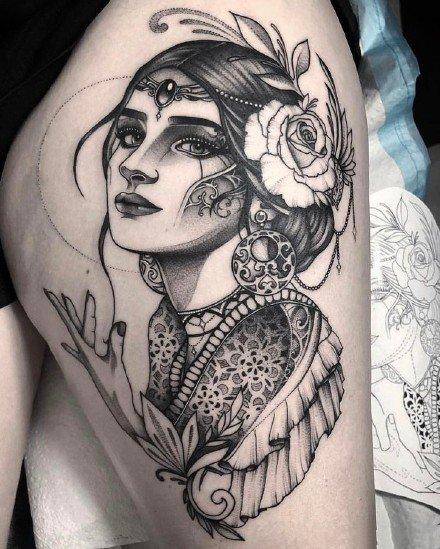 暗黑女头像 适合手臂大小腿的女郎头像纹身图案