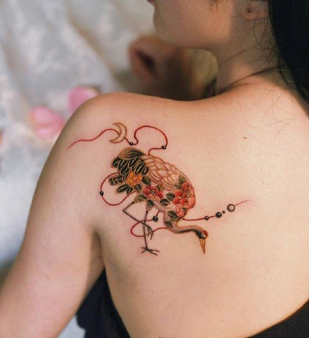 日式红色绳结主题的9款纹身图片
