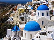 希腊圣托里尼岛建筑浪漫清新