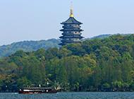 杭州西湖雷峰塔风景优美壮阔