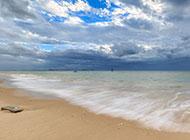 厦门观音山海滨蓝色沙滩风景