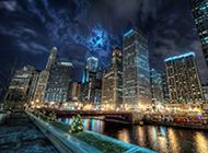 美国城市街道风景图片繁华斑斓