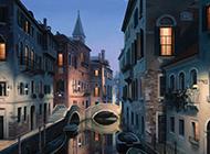 落日余晖中的威尼斯水城唯美意境风景图片