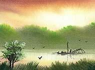 小清新湖畔精美画作风景图片