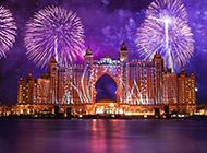 迪拜迷离夜景风景图片