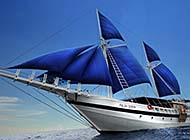 深蓝色大海帆船电脑高清桌面背景图