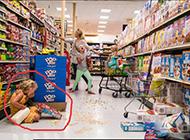 在超市偷吃的小屁孩搞笑图片