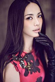 明星辣妈姚晨豹纹红裙时尚写真