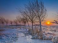 北欧河流雪景风景图片特写