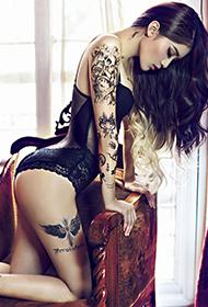 冷艳美女王熙然人体纹身艺术高清图