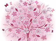 粉色花手绘背景图片素材