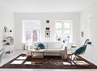 北欧极简蓝白二居室装修效果图