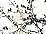树木与叽叽喳喳的鸟儿国画图片