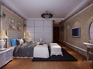 现代中式别墅卧室装修效果图