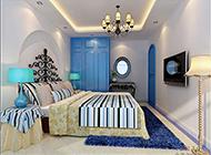 小户型卧室地中海蓝白风格装修图片