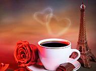 咖啡与红玫瑰埃菲尔铁塔图片素材