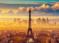 埃菲尔铁塔浪漫夕阳风光精致唯美背景图