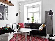 一居室黑白红混搭风格装修效果图