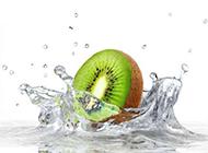奇异果与水高清背景图片素材