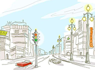 简笔城市风光高清壁纸