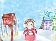 可爱动漫少女冬日温馨唯美背景素材