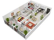 二居室3D平面设计效果图展览