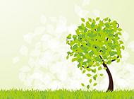 绿色的卡通树ppt背景图
