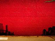 红色舞台砖墙背景高清图片