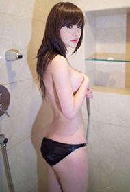 韩子萱雪白通透肌肤浴室湿身写真