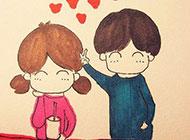 甜蜜卡通情侣头像素描图片