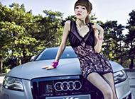 性感长腿美女帅气展示奥迪经典车型