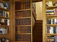 新古典装修风格实木书架隐形门效果图