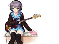 漂亮的学生妹弹吉他动漫图片