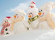 可爱的白色雪人ppt背景图片