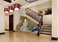 复式楼梯简约中式装修效果图