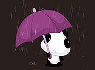 可爱手绘动漫小熊漫步雨中唯美背景图