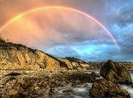 梦幻般唯美的海边彩虹景色图片