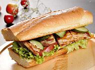 自制鸡排汉堡高清图片