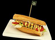 美味的德式香肠汉堡图片
