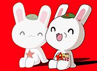 可爱卡通兔子红色背景图片