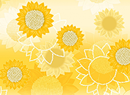 灿烂的金色卡通向日葵背景壁纸