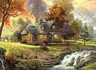 意境梦幻的手绘森林风景图片壁纸