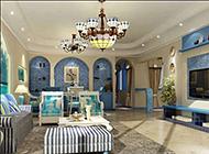 温馨复古地中海客厅装修效果图
