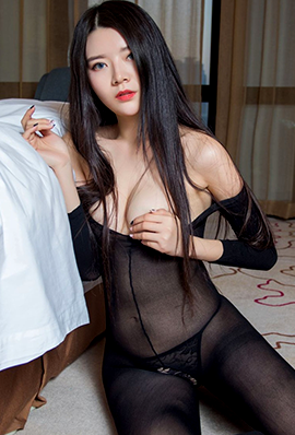 长发美女林蕾连体黑丝性感写真