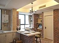 风格轻快温馨的复式厨房设计效果图