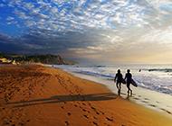 金色沙滩唯美黄昏景色图片